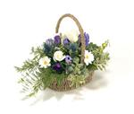 Funeral Basket   Purple, Blue & White